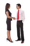 Business agreement. Concept with businesswoman and businessman handshake Royalty Free Stock Photos