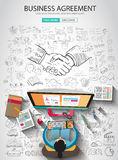 Business Agreement concept wih Doodle design style. Finding solution, brainstorming, creative thinking. Modern style illustration for web banners, brochure and Stock Photos