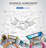 Business Agreement concept wih Doodle design style. Finding solution, brainstorming, creative thinking. Modern style illustration for web banners, brochure and Stock Photo