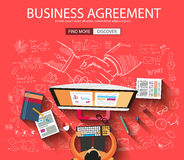Business Agreement concept wih Doodle design style. Finding solution, brainstorming, creative thinking. Modern style illustration for web banners, brochure and Royalty Free Stock Image