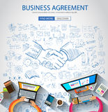 Business Agreement concept wih Doodle design style Stock Images