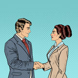 Business Agreement Partnership. Pop Art Businessman and Business Woman Handshake. Vector illustration Royalty Free Stock Image