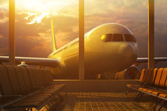 Business air travel by plane, departure or arrival concept Royalty Free Stock Photography