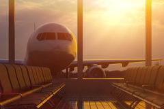 Business air travel by plane, departure or arrival concept Stock Photo