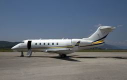 Business aircraft. Small business aircraft landing at the airport Royalty Free Stock Photography