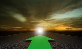 Business Alignment Concept. Strategy and planning, green arrow on road background Royalty Free Stock Photography