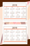 Business american calendar for wall year 2018, 2019 Stock Photography