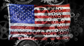Business American Flag Cogs Background. A conceptual photographic montage of cogs and an American flag Stock Photos