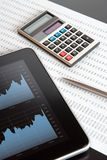 Business analysis. Modern business analysis with digital tablet, calculator, pen and printed data sheet - vertical composition