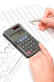 Business analysis. Concept of woman business analyst - calculator, sheet and graph stock image