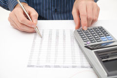 Business analysis. Calculator, sheet, part of graph, (business report) and analyst stock photo