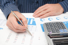 Business analysis. Calculator, sheet, graph, (business report) and analyst royalty free stock images