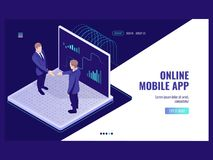 Free Business Analysis And Statistics Icon, Two Businessmen Deal, Risk Management, Big Data Processing Isometric Vector Dark Stock Images - 122653724