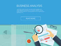 Business analysis background with magnifying glass. Graphs and charts. Analytics report vector infographics. Eps10 vector illustration Stock Images