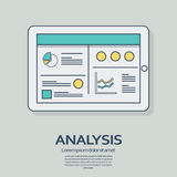 Business analysis background with tablet computer devices and line art icons responsive design. Presentation graphs Stock Photography
