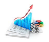 Business analysis. Charts and growth graph. Over white Stock Photos