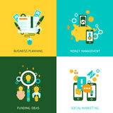 Business analysis concept 4 flat icons Royalty Free Stock Image
