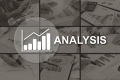 Concept of business analysis. Business analysis concept illustrated by pictures on background stock illustration