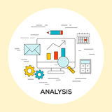Business analysis concept illustration. With thin outline icons Stock Photography