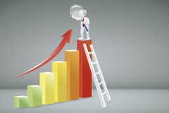 Business Analysis Concept. Business Analysis Concept : Business man climbing white ladder to top of colorful chart and looking to red arrow up through Stock Photo