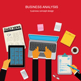 Business analysis concept, template, banner, vector illustration in flat design for web sites, Infographic design Royalty Free Stock Photography