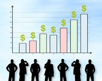 Business analysis concept on a wall. Silhouettes of men looking at a business analysis concept Stock Photo