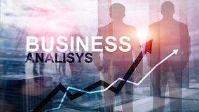 Business analysis diagrams and graphs on virtual screen. Financial and technology concept with blurred background. Business analysis diagrams and graphs on royalty free stock photography