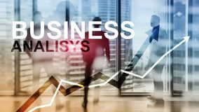 Business analysis diagrams and graphs on virtual screen. Financial and technology concept with blurred background.  royalty free stock image