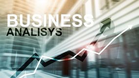 Business analysis diagrams and graphs on virtual screen. Financial and technology concept with blurred background. Business analysis diagrams and graphs on stock photo