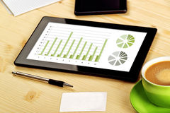 Business Analysis, Digital Tablet with Financial Charts Stock Photography