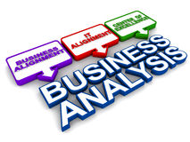 Business Analysis Function. The Business Analysis Function within the organizational structure, text and pointer box arrangement in 3d over white background Stock Photos
