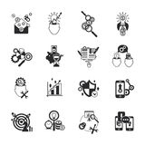 Business analysis icons set black. Successful business innovative ideas market analysis strategy concept black line symbols icons set abstract isolated vector Stock Photo