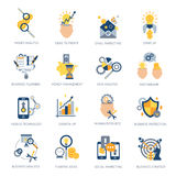 Business Analysis Icons Set. With money idea campaign planning  vector illustration Stock Photos