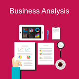 Business analysis illustration. Flat design illustration concepts for business, planning, management, career, business strategy. Business analysis illustration Royalty Free Stock Photos