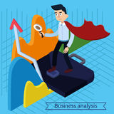 Business Analysis Isometric Concept with Super Businessman. And Charts. Vector illustration in 3d style Royalty Free Stock Photography