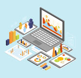 Business Analysis Isometric. Business analysis report and analyze flat 3d isometric modern design concept vector icons composition collage. Web banners Royalty Free Stock Photo