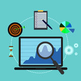 Business analysis, laptop, magnifier, target, hourglass Royalty Free Stock Images