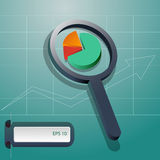 Business analysis magnifying glass icon eps 10 Royalty Free Stock Photos