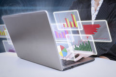 Business analysis. Modern business analysis with internet online on computer laptop Stock Image