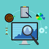 Business analysis, monitor, magnifier, target, hourglass Stock Photos