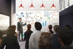 Business analysis in an office. 3D Rendering Royalty Free Stock Photos