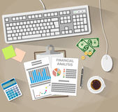 Business analysis and planning, financial report. Business analysis financial report, computer keyboard mouse, money, coins, coffee cup, calculator, pen, sticky Royalty Free Stock Photography