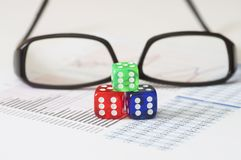 Business Analysis and Report with glasses and dice Stock Photos