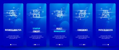 Business analysis, Startup concept, Project management, Conference, Path to success Vertical Cards with strong metaphors. Template for website design Royalty Free Stock Photos