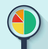 Business Analysis symbol with magnifying glass icon and pie chart. Stock Image