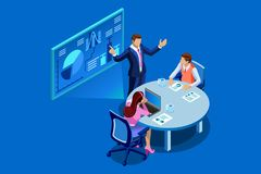 Business Analysis Teamwork Flat Isometric Banner. Isometric business analysis and planning. Concept of unity or teamwork concept. Consulting team work together Stock Photo