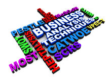 Business analysis techniques. Related words in color, over white background, techniques like SWOT PESTLE MOST SCRS CATWOE etc Stock Images