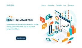 Business Analysis website template design with space for text and a cartoon businessman doing a presentation royalty free illustration