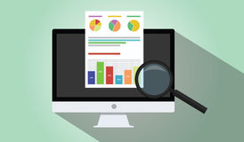 Business analyst. With laptop notebook dekstop graph document flat illustration Royalty Free Stock Photography