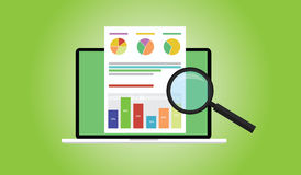 Business analyst. With laptop notebook graph document flat illustration Royalty Free Stock Photo